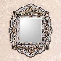 Cedar mirror, 'Antique Charm' - Reverse Painted Mirror from Peru