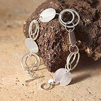 Silver link bracelet, 'Happiness' - Silver Link Bracelet Artisan Jewelry