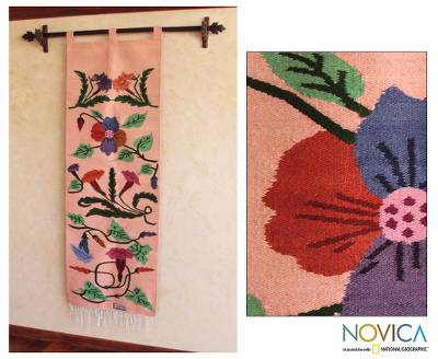 Wool tapestry, 'Daily Bouquet' - Floral Wool Tapestry Wall Hanging