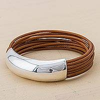 Leather wristband bracelet, 'Chestnut Free Spirit'