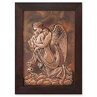 Copper panel, 'Guardian Angel' - Handmade Angel Protector Copper Relief Panel Wall Art