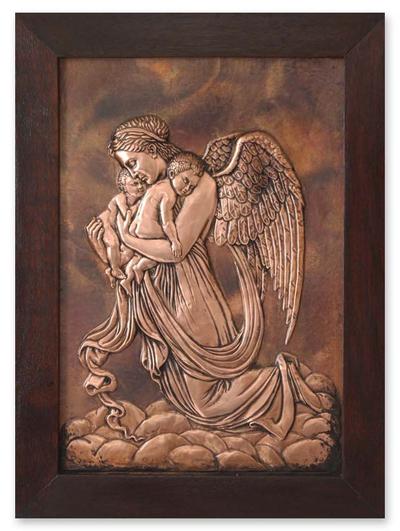 Copper panel, 'Guardian Angel' - Handmade Angel Protector Copper Relief Panel Wall Art