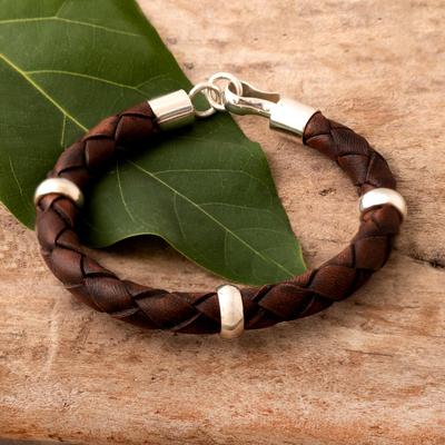 Men S Leather Bracelet Chankas Warrior In Light Brown Sterling Silver