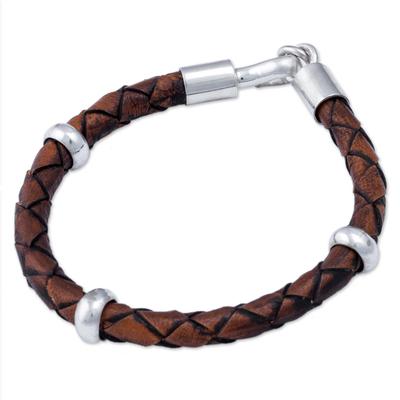 Men's leather bracelet, 'Chankas Warrior in Light Brown' - Men's Leather Sterling Silver Braided Bracelet
