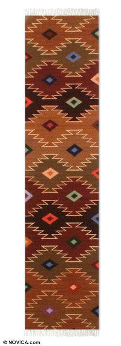 Wool runner, 'Starry Hills' (1x5) - Hand Made Geometric Wool Earthtone Runner from Peru (1x5)