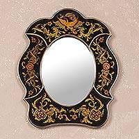 Mirror, 'Birdsong at Night' - Handcrafted Animal Themed Mirror from Peru