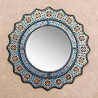 Mirror, 'Bluebells' - Reverse Painted Glass Floral Mirror