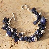 Sodalite beaded bracelet, 'Indigo Spirit' - Peruvian Women's Sterling Silver Charm Sodalite Bracelet