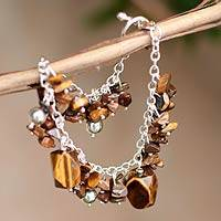 Tiger's eye beaded bracelet, 'Mystery' - Hand Crafted Tiger's Eye Beaded Bracelet