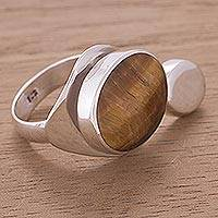 Tiger's eye cocktail ring, 'Sun and Moon' - Peruvian Sterling Silver and Tiger's Eye Ring