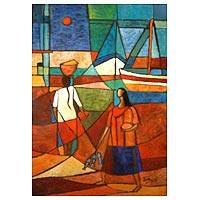 'And the Fishing is Over' - Peruvian Cubist Painting