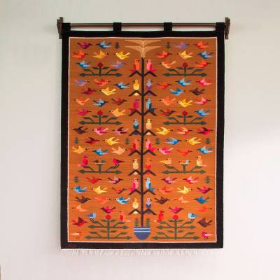 Wool tapestry, 'Tree of Happiness' - Unique Tree of Life Bird Tapestry from Peru