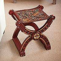 Tooled leather and wood stool, 'Baroque Peru' - Handcrafted Peruvian Wood Leather Stool