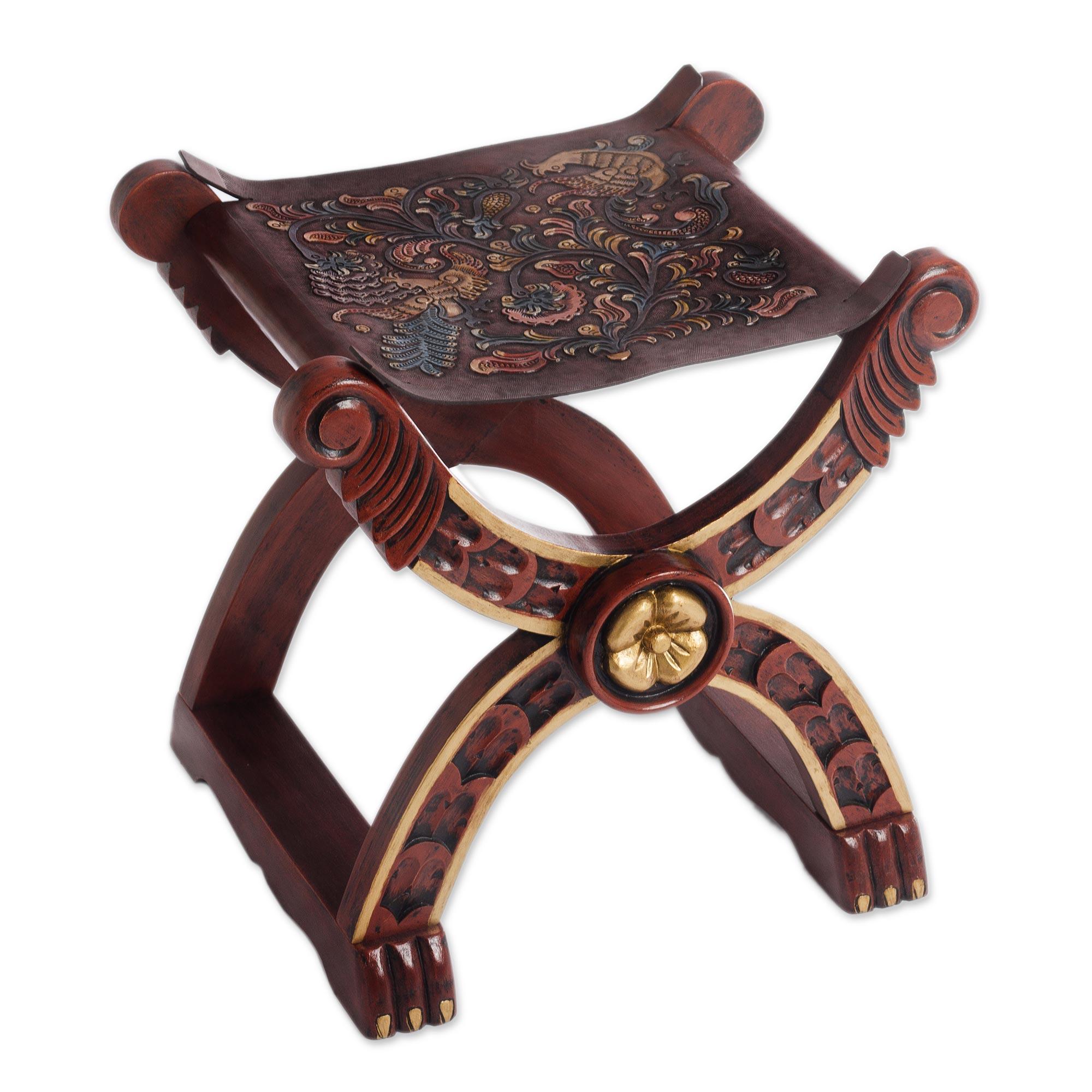 sc 1 st  Novica & Handcrafted Peruvian Wood Leather Stool - Baroque Peru | NOVICA islam-shia.org