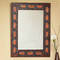 Leather mirror, 'Helix' - Artisan Crafted Geometric Leather Mirror