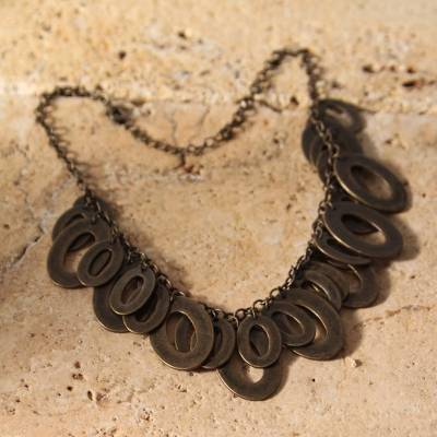 Choker, 'Bronze Princess' - Fair Trade Handcrafted Artisan Bib Necklace with Articulated