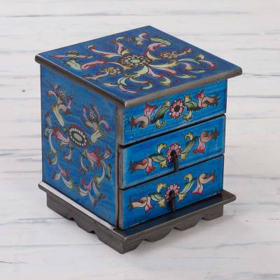Reverse painted glass jewelry box, 'Celestial Blue' - Reverse Painted Glass Jewelry Box Chest with Mirror