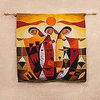 Wool tapestry, 'Festival' - Handcrafted Cultural Wool Tapestry