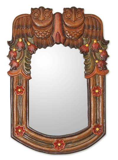 Hand Made Wood Owl Mirror