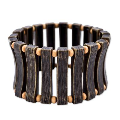 Artisan Crafted Bronze Plated Tin and Birch Wood Stretch Cuff Bracelet