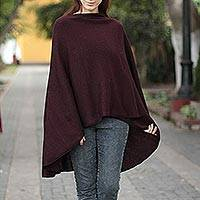 Alpaca blend wrap, 'Plum Wine' - Handmade Alpaca Wool Solid Burgundy Wrap Ruana