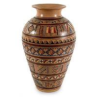 Cuzco vase, 'Sunday Fair' - Handcrafted Cuzco Ceramic Vase