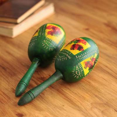 Gourd maracas, Green Jungle (pair)
