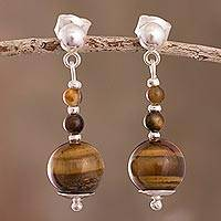 Tiger's eye dangle earrings, 'Golden Light' - Hand Crafted Sterling Silver Tiger's Eye Dengle Earrings