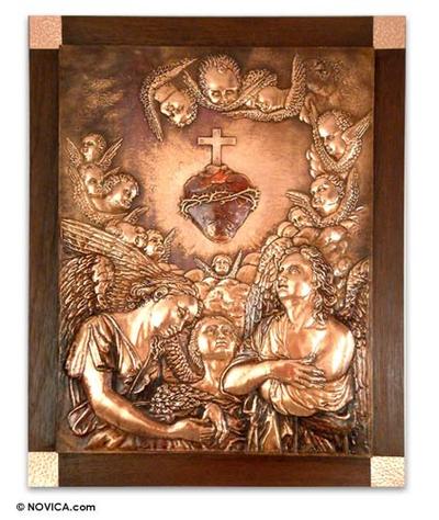 Fair Trade Christianity Wood Metallic Relief Wall Panel