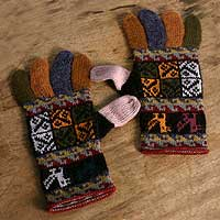 100% alpaca gloves, 'Autumn Songbirds' - Warm Multi colour 100% Alpaca Hand Knit Gloves from Peru