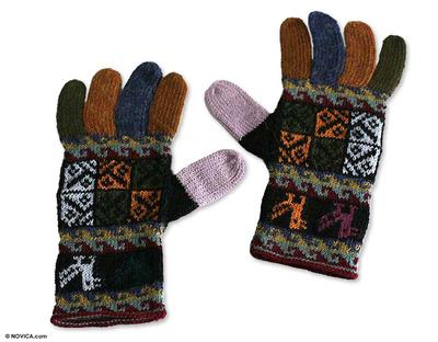 100% alpaca gloves, 'Autumn Songbirds' - Warm Multi colour 100% Alpaca Hand Knit Gloves from Peru
