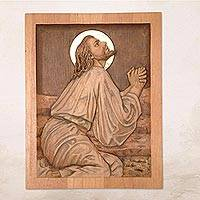 Cedar wood panel, 'Christ's Prayer on His Knees' - Hand Carved Cedar Jesus Wall Panel Bronze with Bronze Leaf