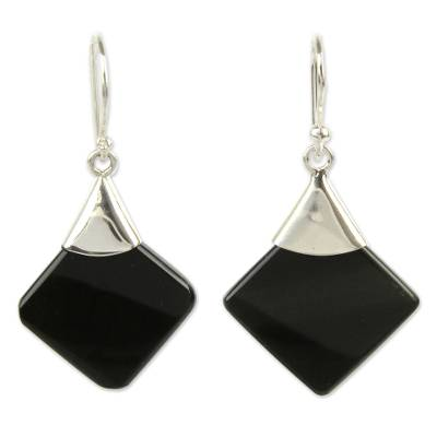 Protection Sterling Silver Dangle Obsidian Earrings