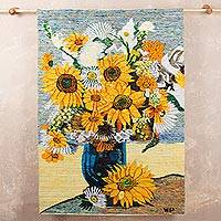 Wool tapestry, 'My Dream Flowers' - Artisan Crafted Floral Wool Tapestry Wall Hanging