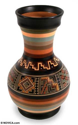 Cuzco vase, 'Treasure' - Handmade Cuzco Ceramic Vase