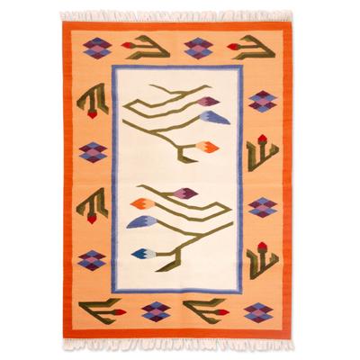 Wool rug, 'Tulips' (4x6) - Wool rug (4x6)