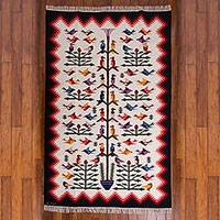 Wool rug, 'Hummingbirds' (6x8) - Exquisitely Handcrafted Bird Area Rug (6x8)