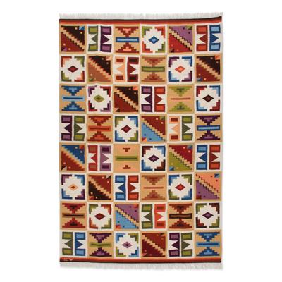 Wool rug, 'Pastel Calendar' (6x8) - Geometric Wool Area Rug (6x8)