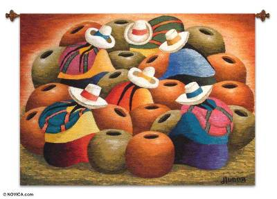 Wool tapestry, 'Ceramists' - Cultural Wool Tapestry Wall Hanging
