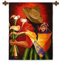 Wool tapestry, 'Gift of Flowers' - Collectible Cultural Wool Multicolor Tapestry