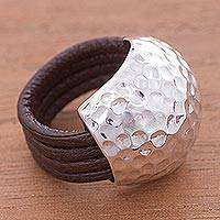 Leather ring, 'Armor Shell' - Pure Silver Wrapped Around Brown Leather