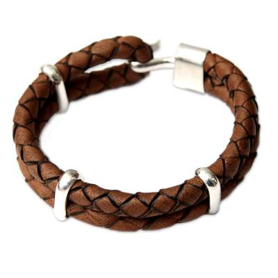 Men's leather bracelet, 'Provocative' - Leather with Sterling Silver Wristband Bracelet