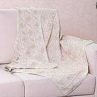 Alpaca blend throw blanket, 'Hypnotic Inca in Tan' - Artisan Crafted Alpaca Blanket