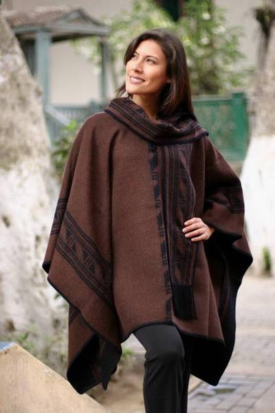 Reversible alpaca blend poncho, 'Ancient Earth' - Handmade Alpaca Wool Brown Poncho from Peru