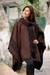 Reversible alpaca blend poncho, 'Ancient Earth' - Handmade Alpaca Wool Brown Poncho from Peru thumbail