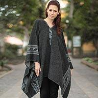 Reversible alpaca blend poncho, 'Gray Black Glyphs' - Womens Reversible Alpaca Blend Peruvian Poncho