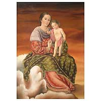'Our Lady of the Rosary' - Spiritual Colonial Replica Painting