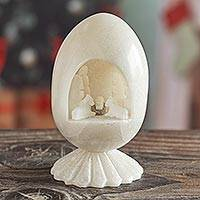 Huamanga stone nativity scene, 'Holiday of Peace and Love' - Carved White Huamanga Stone Nativity Egg Sculpture Peru