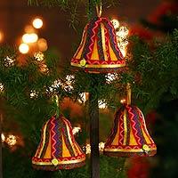 Ornaments, 'Joyful Bells' (set of 3) - Ornaments (Set of 3)