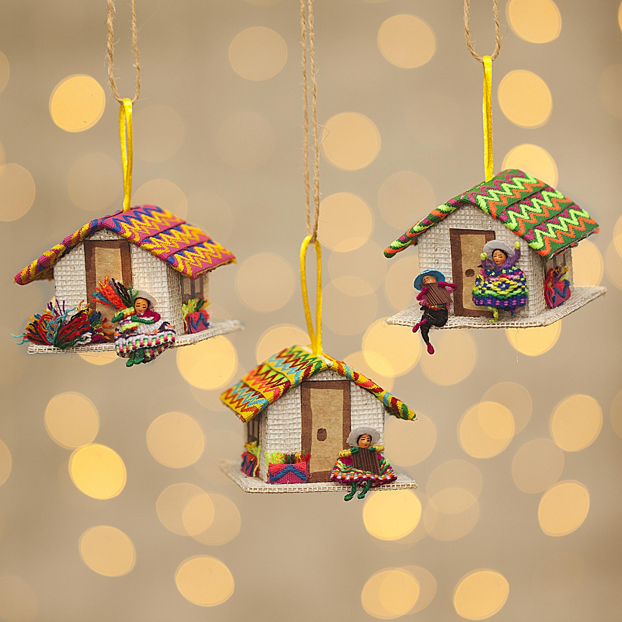 "Peru Handmade Christmas Tree Ornament Se, ""Andean Houses"""